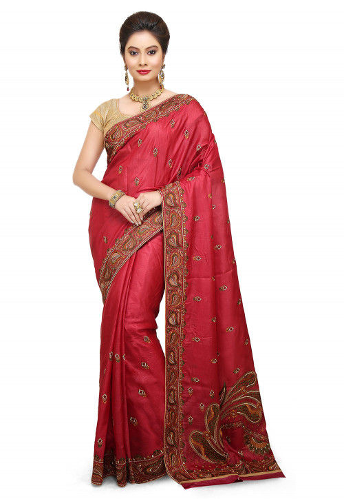 Pure Silk Embroidered Saree in Red