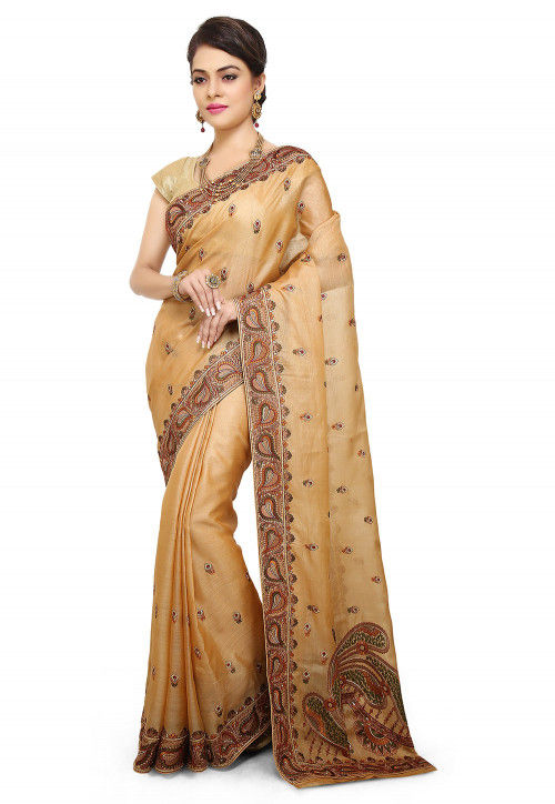 Pure Silk Embroidered Saree in Beige