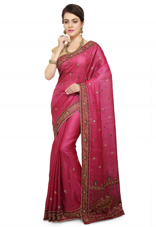 Pure Silk Embroidered Saree in Fuchsia