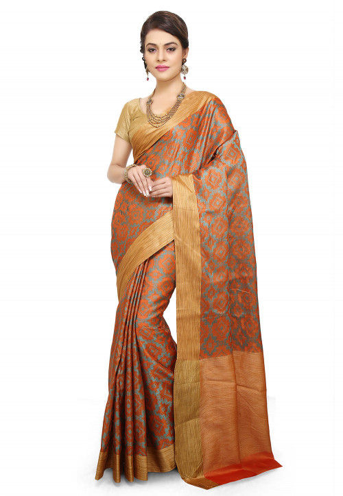 Pure Silk Saree in Grey and Orange