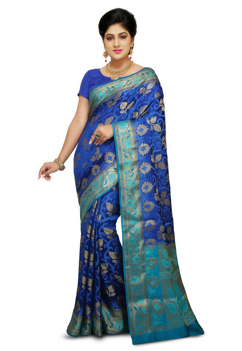 Pure Silk Saree in Royal Blue