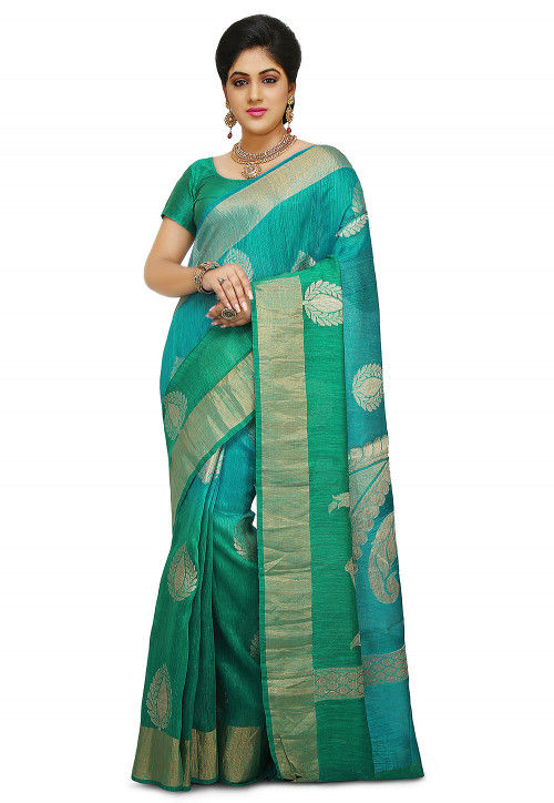 Pure Matka Silk Saree in Sky Blue and Teal Green