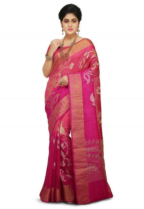 Pure Matka Silk Saree in Pink Ombre