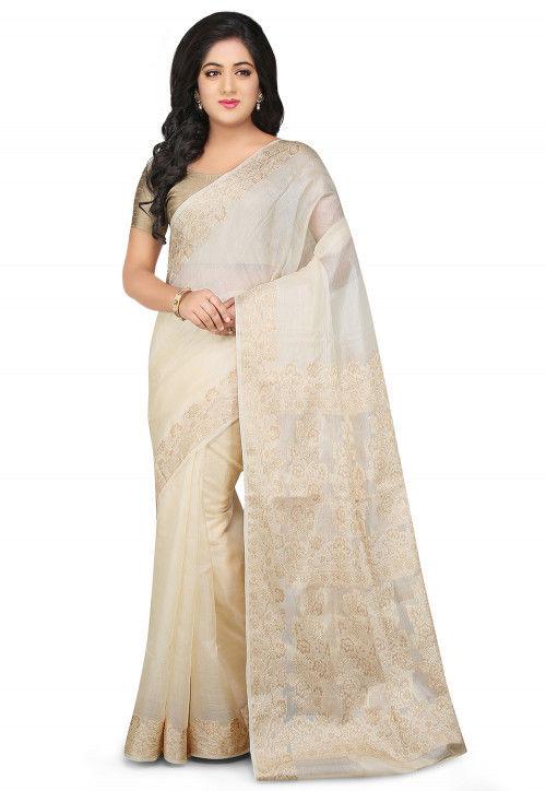 6f2611ca8e5 Woven Pure Tussar Silk Saree in Off White