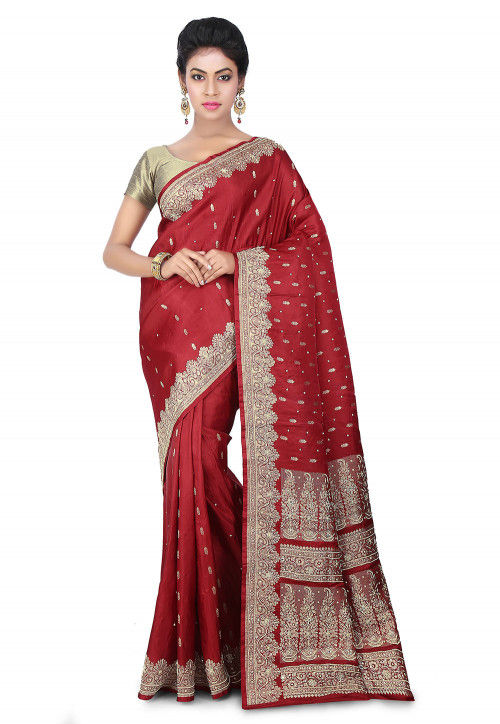 Pure Satin Silk Banarasi Saree in Maroon