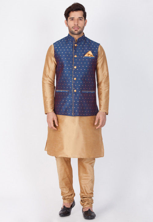 Solid Color Art Dupion Silk Kurta Set in Beige and Navy Blue