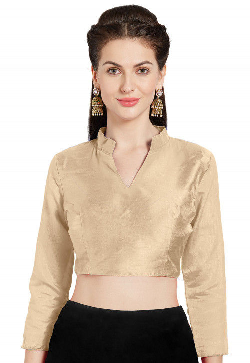 Solid Color Art Silk Blouse in Beige