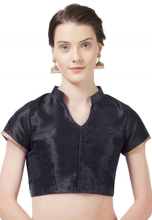 Solid Color Art Silk Blouse in Black