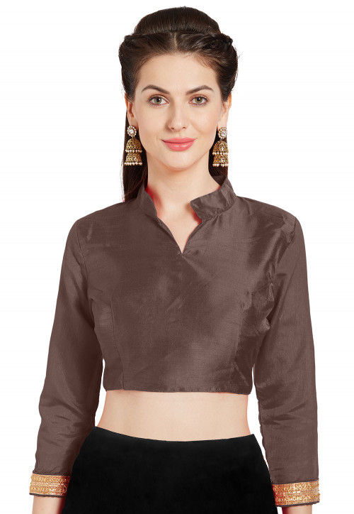 Solid Color Art Silk Blouse in Brown