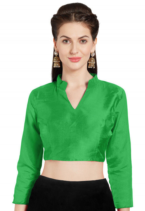 Solid Color Art Silk Blouse in Green