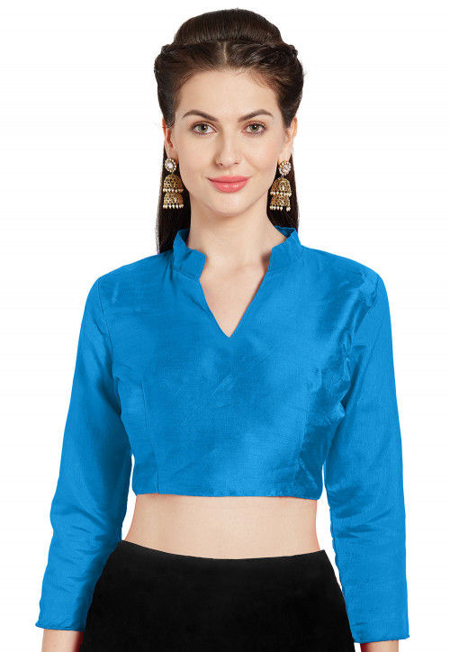 Solid Color Art Silk Blouse in Light Blue