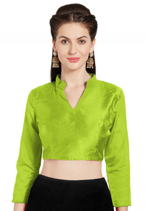 Solid Color Art Silk Blouse in Light Green