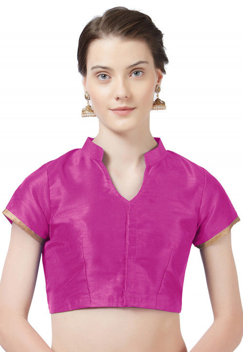 Solid Color Art Silk Blouse in Magenta