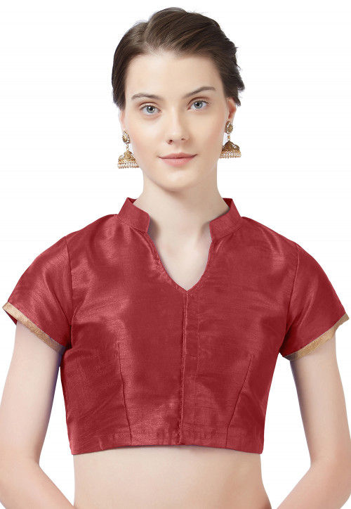 Solid Color Art Silk Blouse in Maroon