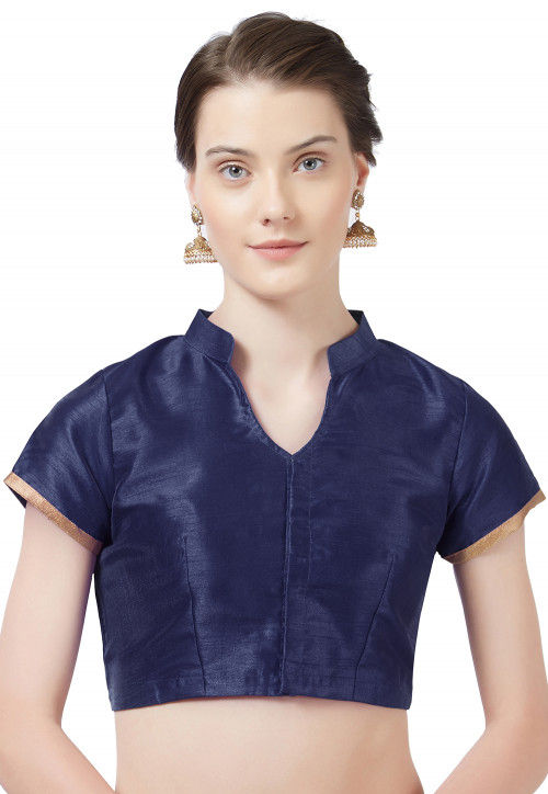 Solid Color Art Silk Blouse in Navy Blue