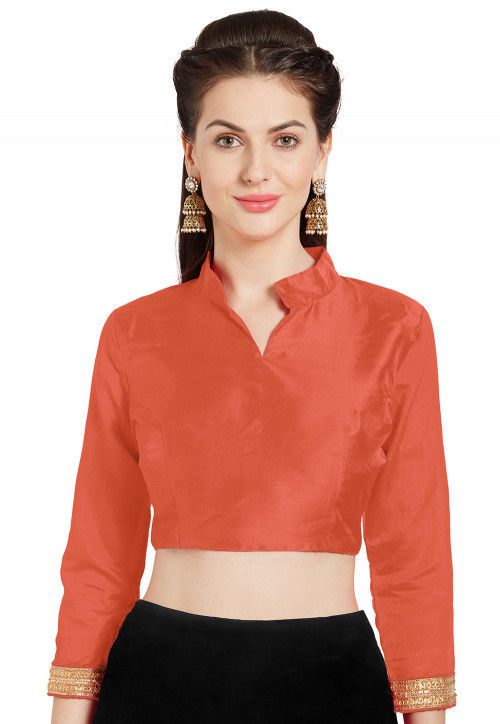 Solid Color Art Silk Blouse in Orange