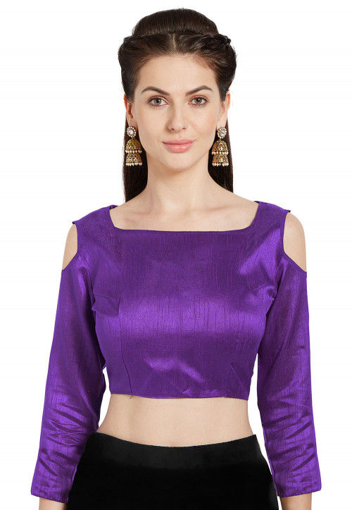 Solid Color Art Silk Blouse in Purple