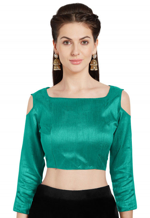 Solid Color Art Silk Blouse in Teal Green