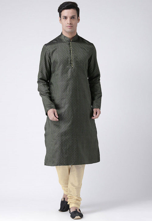 Solid Color Art Silk Jacquard Kurta in Black