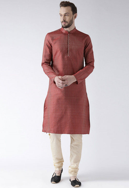 Solid Color Art Silk Jacquard Kurta in Red