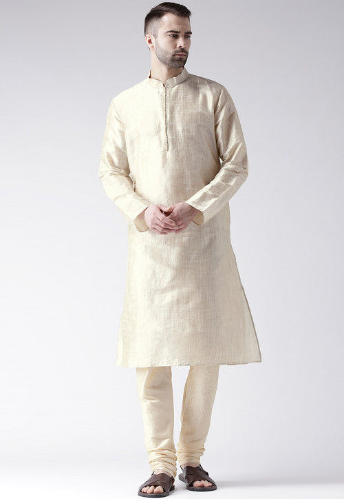 Solid Color Art Silk Kurta in Off White