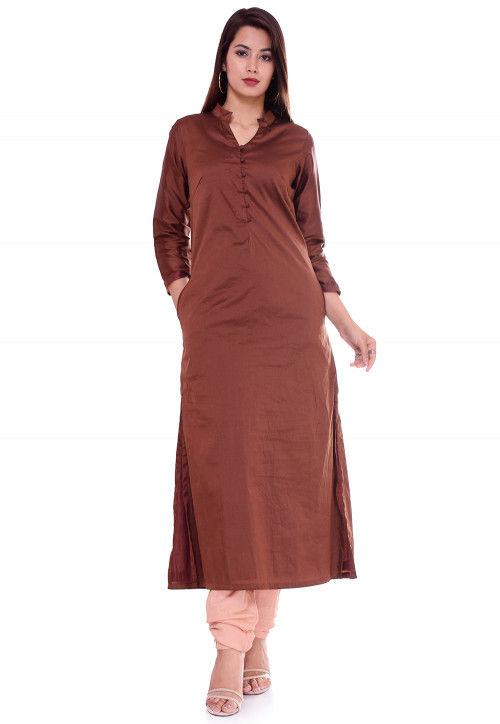 Solid Color Art Silk Kurta Set in Brown
