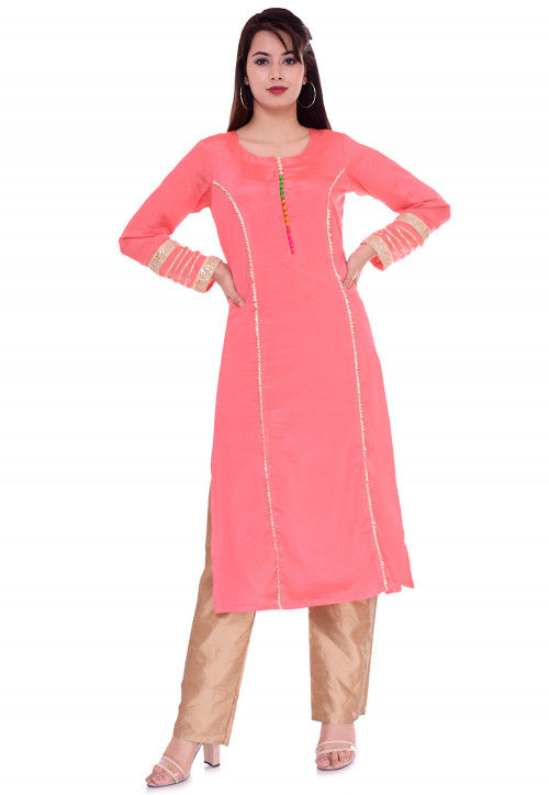 Solid Color Art Silk Kurta Set in Pink and Beige