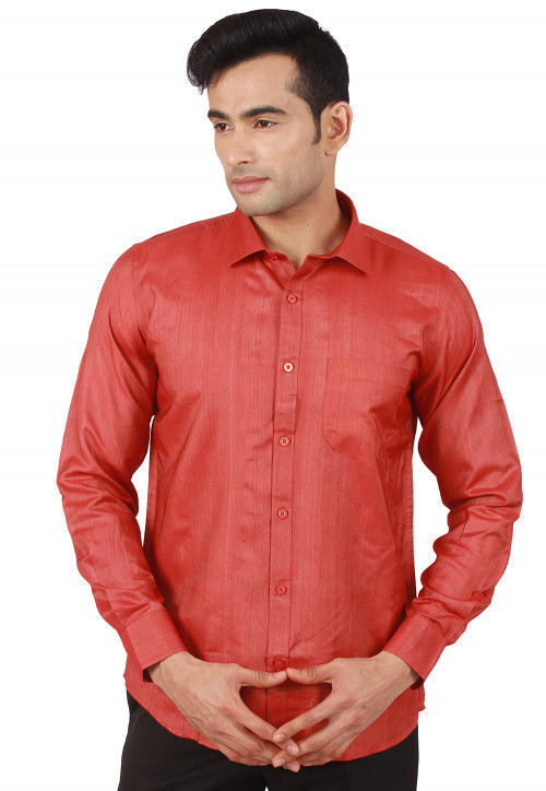 Solid Color Art Silk Shirt in Coral Red