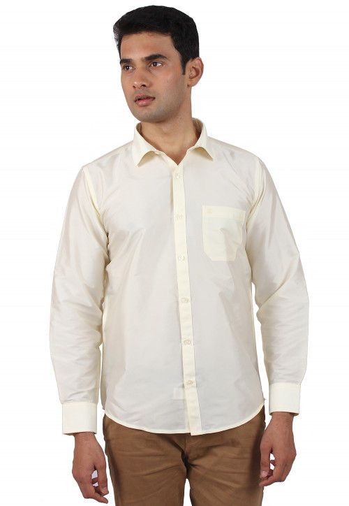 Solid Color Art Silk Shirt in Cream