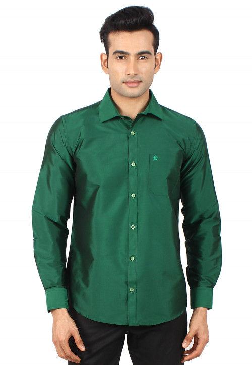 Solid Color Art Silk Shirt in Dark Green