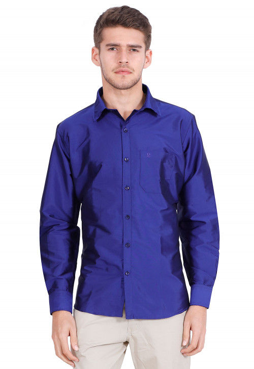 Solid Color Art Silk Shirt in Indigo Blue