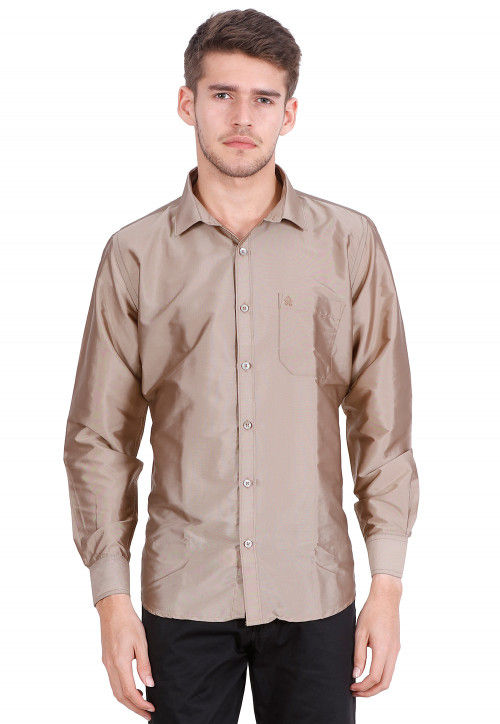 Solid Color Art Silk Shirt in Light Brown