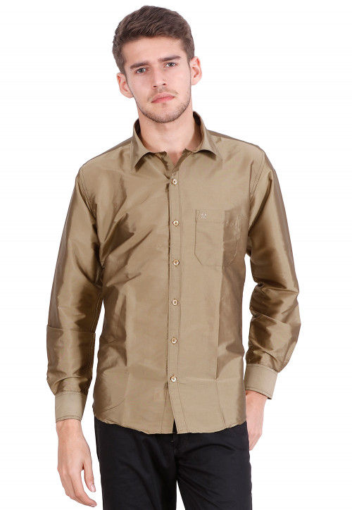 Solid Color Art Silk Shirt in Light Olive Green