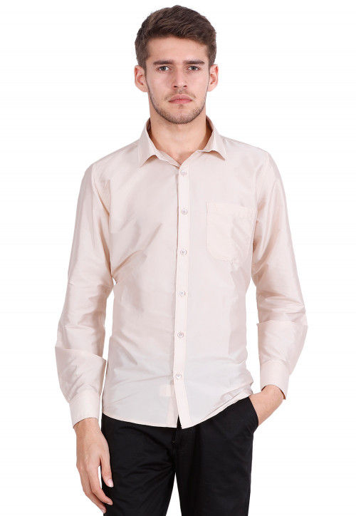 Solid Color Art Silk Shirt in Light Pink
