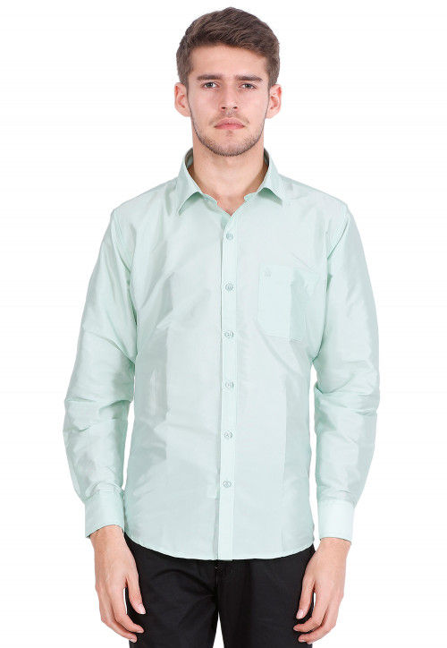 Solid Color Art Silk Shirt in Light Sea Green