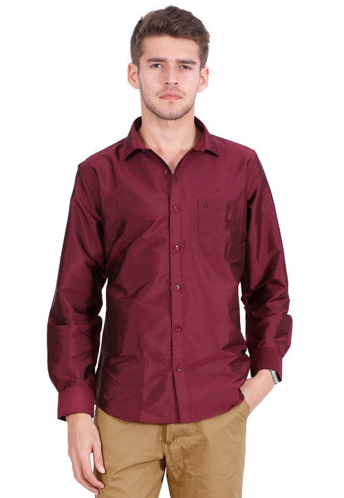 Solid Color Art Silk Shirt in Maroon