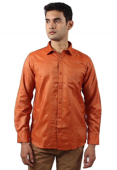 Solid Color Art Silk Shirt in Orange