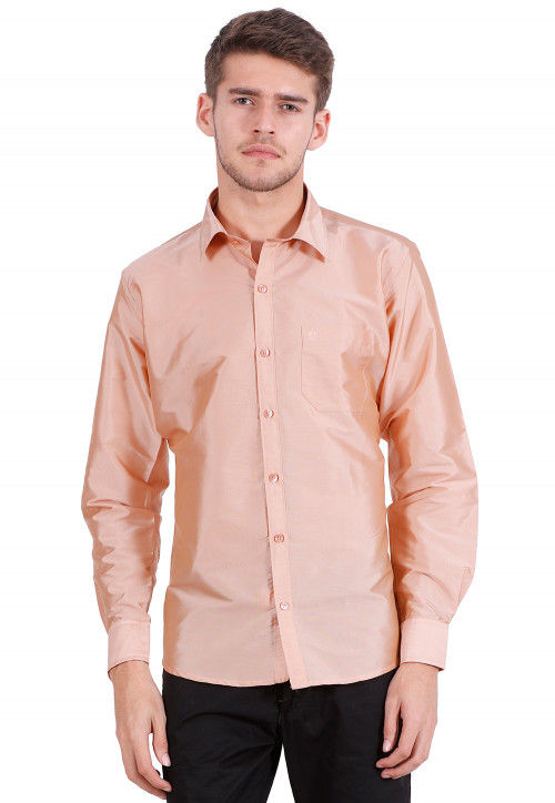 Solid Color Art Silk Shirt in Peach Orange