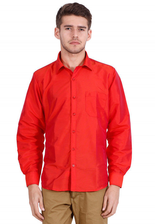 Solid Color Art Silk Shirt in Red