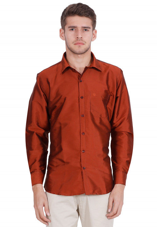 Solid Color Art Silk Shirt in Rust