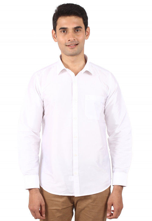 Solid Color Art Silk Shirt in White