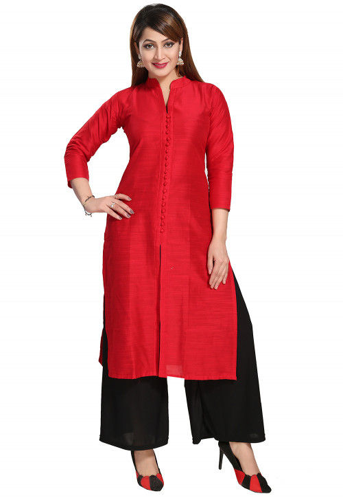 Solid Color Art Silk Straight Kurta in Red