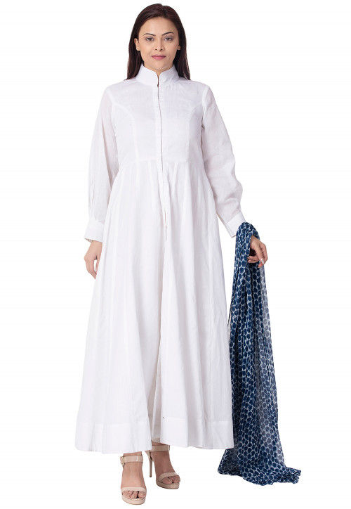 Solid Color Cotton Abaya Style Suit in White