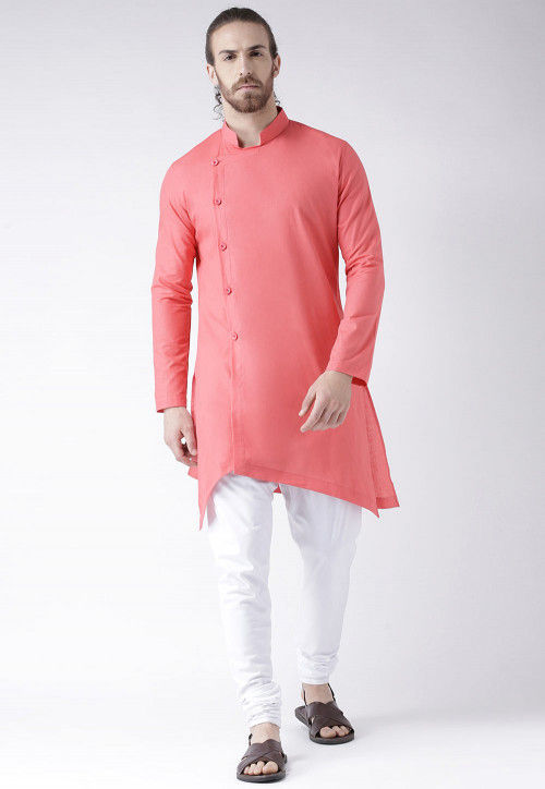 Solid Color Cotton Asymmetric Kurta in Pink