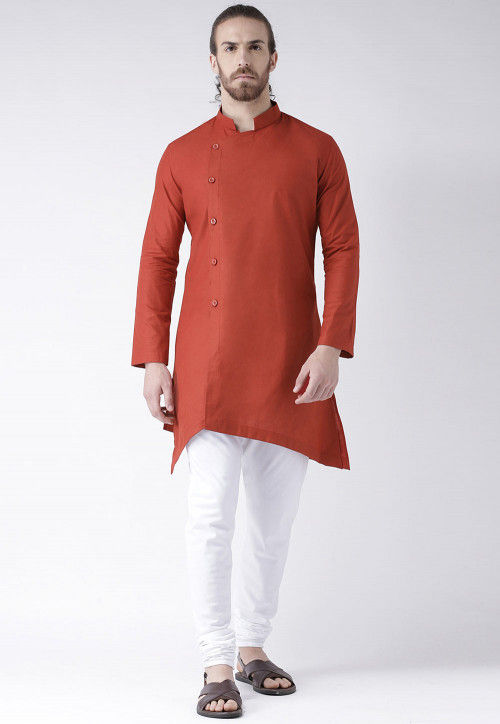 Solid Color Cotton Asymmetric Kurta in Rust