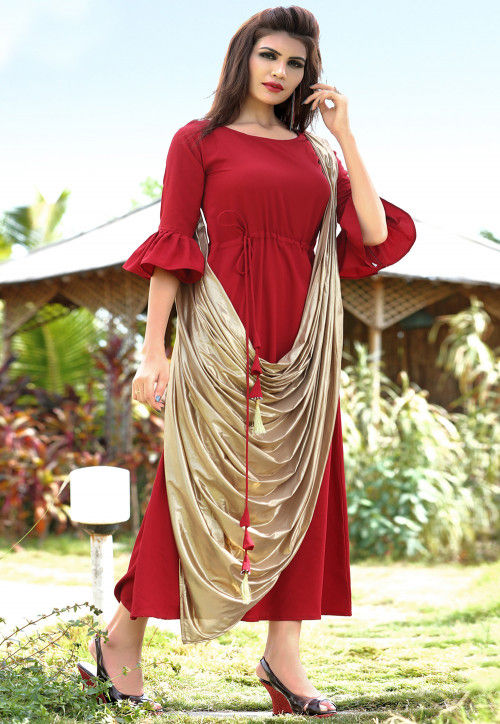 Solid Color Cotton Cowl Style Dress in Red and Golden
