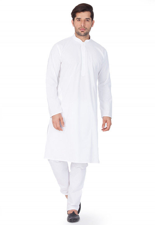 Solid Color Cotton Kurta Set in White