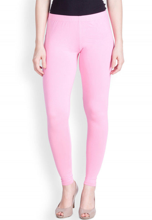efef67e1a Solid Color Cotton Lycra Ankle Length Leggings in Baby Pink : BKS247