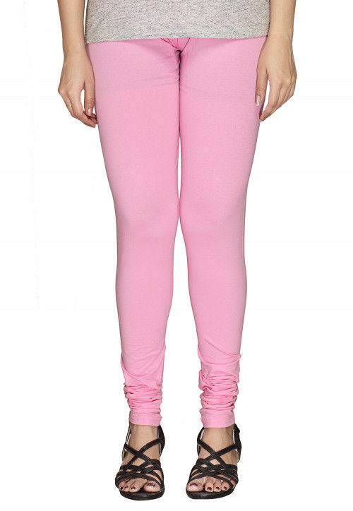 9c0ac9dfc Solid Color Cotton Lycra Leggings in Baby Pink : BCF98