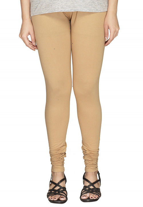 Solid Color Cotton Lycra Leggings in Beige